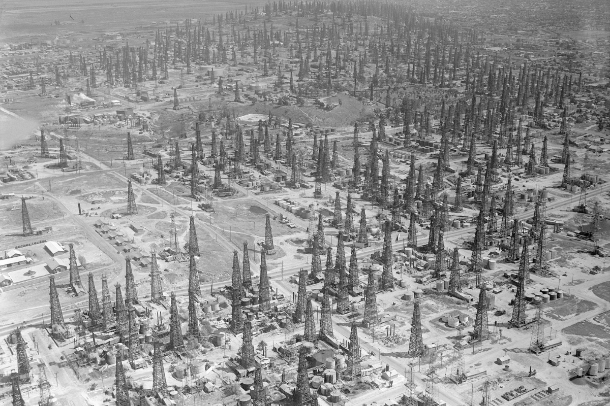 A forest of oil derricks sprouts up on the Signal Hill oil field, Long Beach, California, 1937 [1200 x 800].